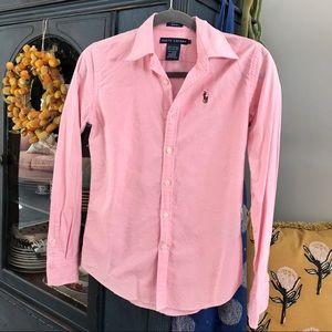 🌷Ralph Lauren pink button up shirt, Size 2